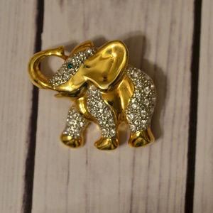 vintage gold elephant brooch pin animal rhinestone